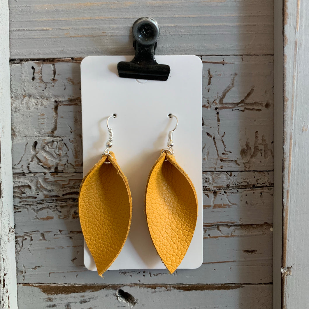 Mustard Yellow Small Petal Leather Earrings