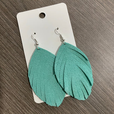 Mint Suede Fringe Leather Earrings