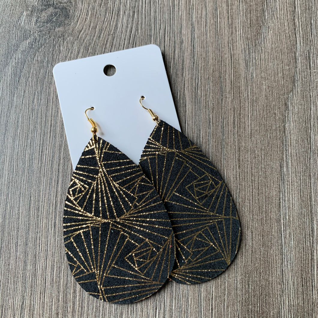 Black and Gold Teardrop Leather Earrings