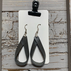 Gray Loop Leather Earrings