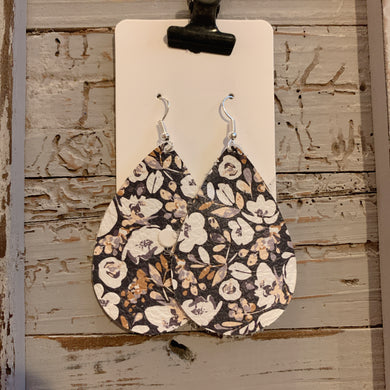 Navy Floral Teardrop Leather Earrings