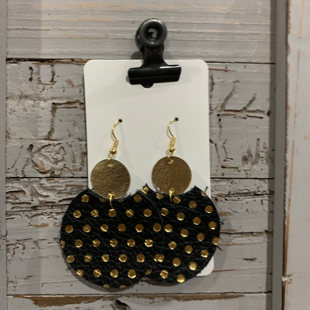 Black and Gold Polkadot Circle Drop Leather Earrings