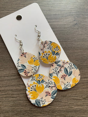 Yellow Floral Drop Cork Leather Earrings