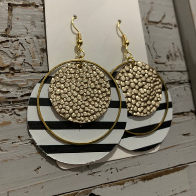 Gold and Black and White Striped Circle Leather Earrings