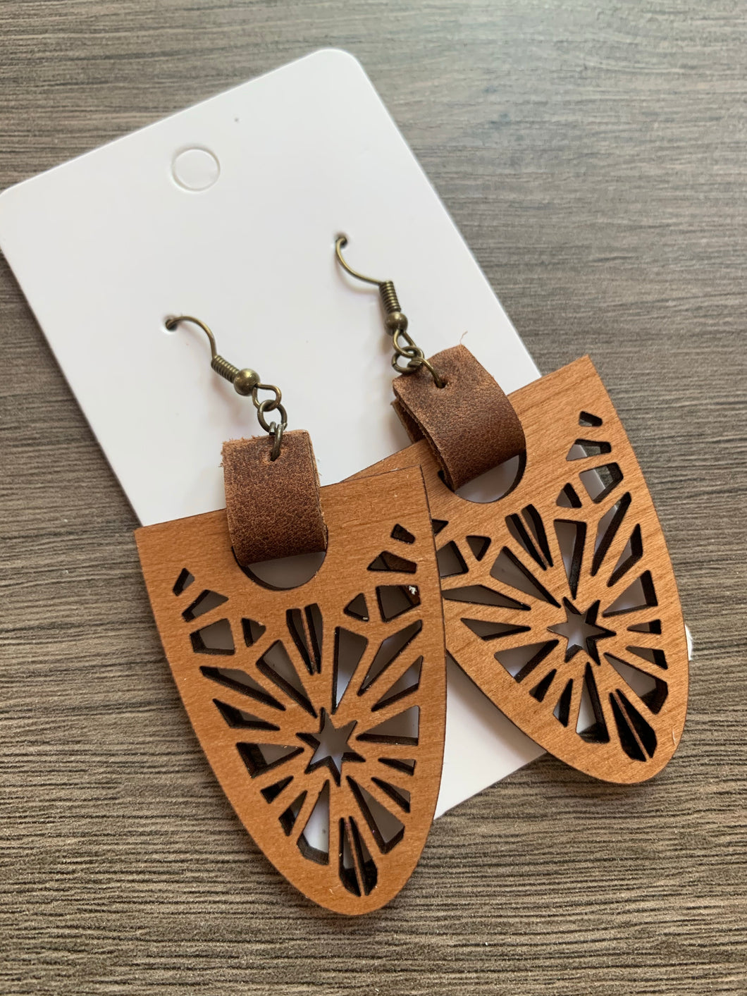 Wood and Leather Drop Earrings