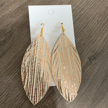 Rose Gold Shimmer Skinny Feather Leather Earrings