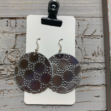 Silver Swiss Dot Circle Leather Earrings