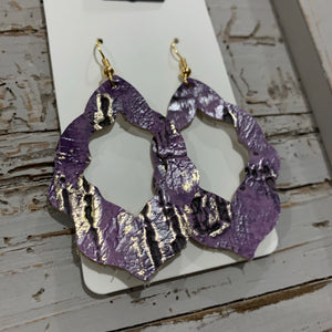 Purple and Gold Moroccan Leather Earrings