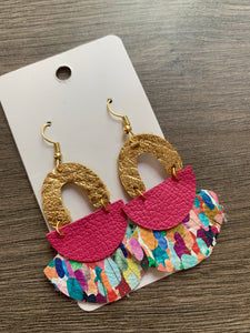 Confetti Pop Fringe Drop Leather Earrings