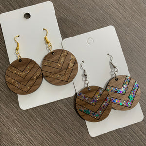 Wooden Glitter Chevron Earrings
