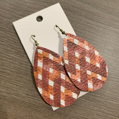 Cinnamon Teardrop Leather Earrings