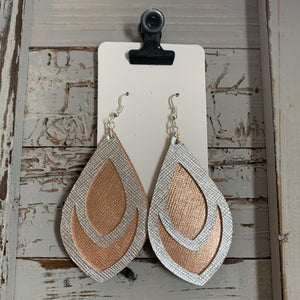 Silver and Rose Gold Double Teardrop Leather Earrings