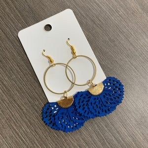 Blue Fabric Brass Drop Earrings