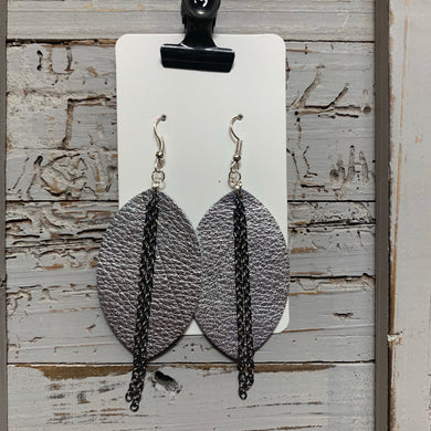 Silver Chain Leaf Leather Earrings
