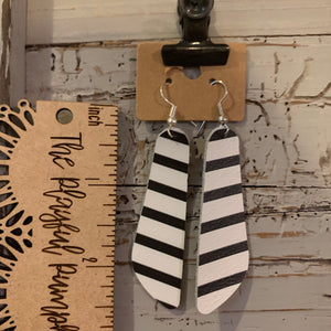 Oblong Black and White Striped Leather Earrings