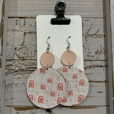 Blush Rainbow Circle Drop Leather Earrings