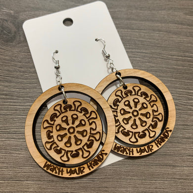 Wash Your Hands Wood Earrings