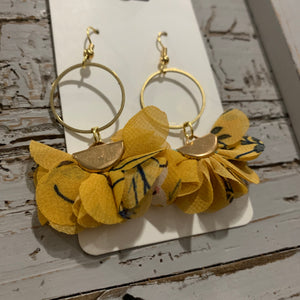 Mustard Floral Fabric and Brass Drop Earrings
