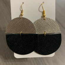 Split Black and Gold Leather Earrings