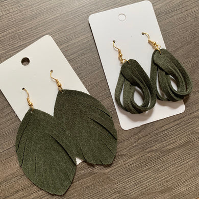 Army Green Suede Fringe and Loop Twist Leather Earrings
