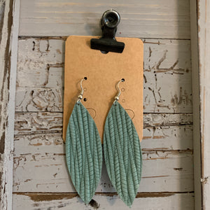 Mint Textured Skinny Leaf Leather Earrings