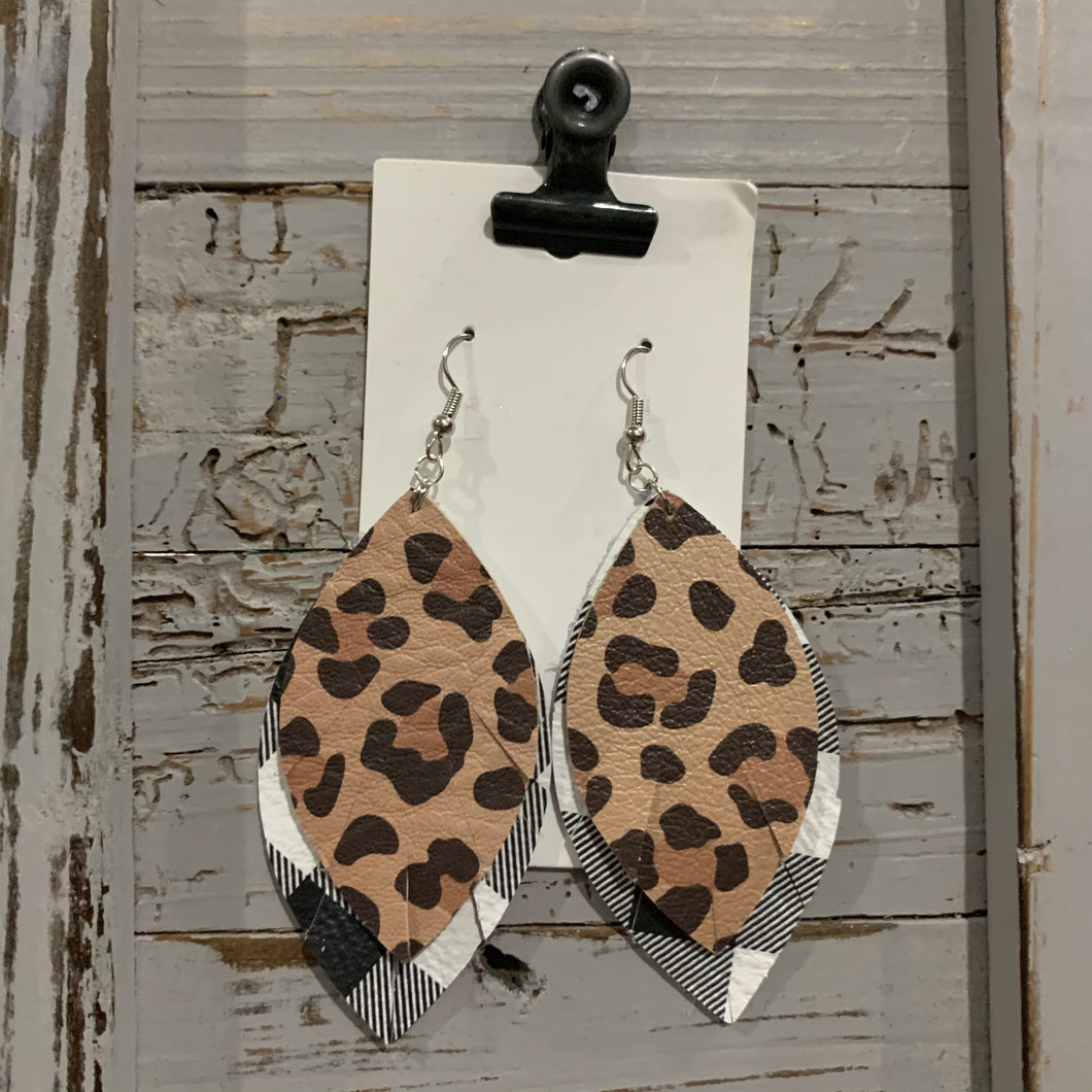 Buffalo Plaid and Animal Print Wide Fringe Leather Earrings