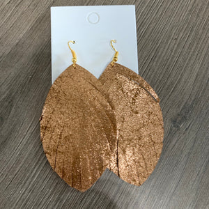 Large Copper Fringe Shimmer Leather Earrings