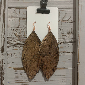 Bronze Fringe Feather Leather Earrings