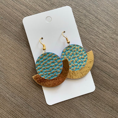 Aqua and Gold Small Circle Leather Earrings
