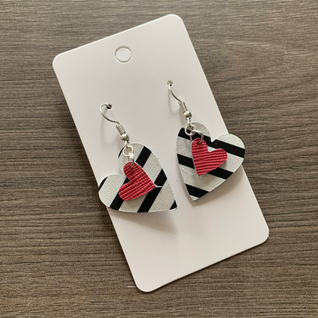 Small Pink Striped Valentine Heart Leather Earrings