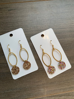 Gold and Rose and Gold Oval Glitter Drop Leather Earrings