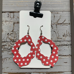 Red Polkadot Moroccan Leather Earrings