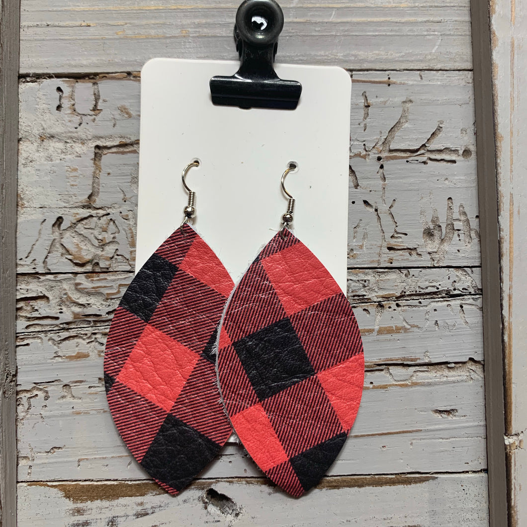 Red Buffalo Plaid Leaf Leather Earrings