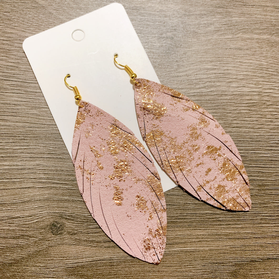 Pink and Gold Skinny Feather Leather Earrings