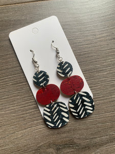 Black White and Red Drop Cork Leather Earrings