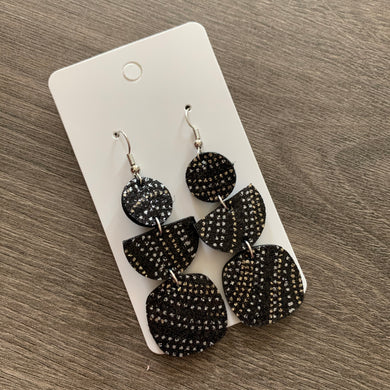 Black Dotted Metallic Drop Leather Earrings