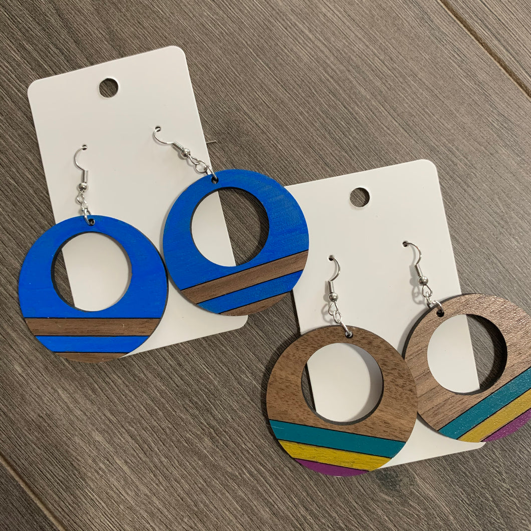 Customized Painted Open Hoop Wooden Earrings