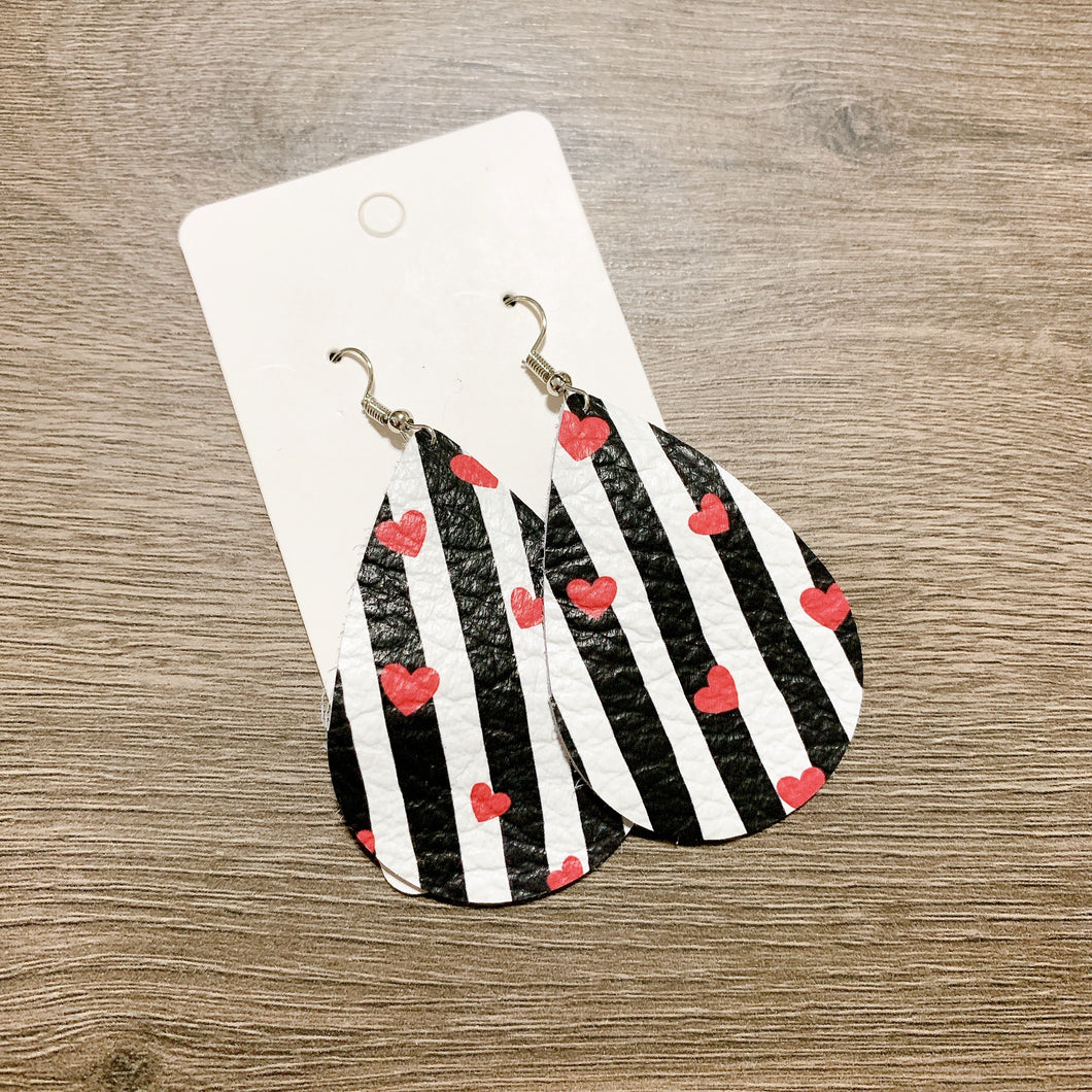 Black Stripes Red Heart Valentines Teardrop Leather Earrings