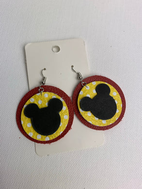 Mickey Circle Leather Earrings