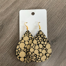 Gold and Black Teardrop Leather Earrings