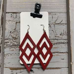 Red Double Diamond Leather Earrings