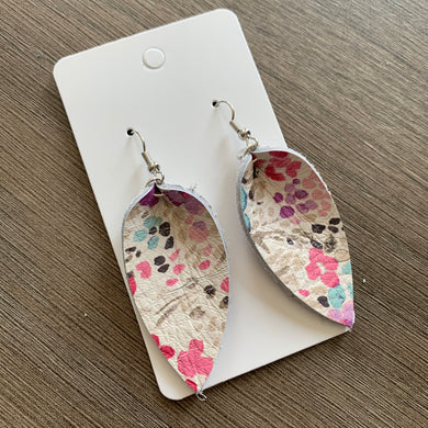 Small White Floral Petal Leather Earrings