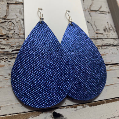 Blue Textured Teardrop Leather Earrings