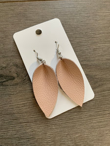 Small Blush Petal Leather Earrings