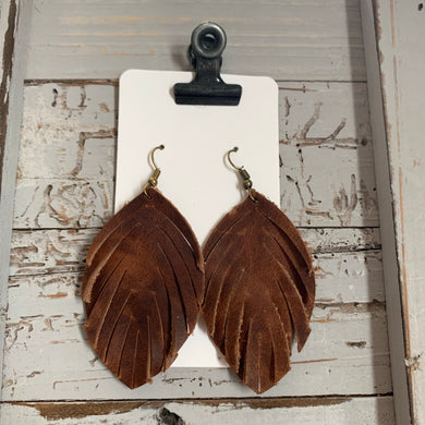 Brown Small Fringe Leather Earrings