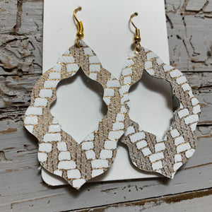 Gold Chevron Moroccan Leather Earrings