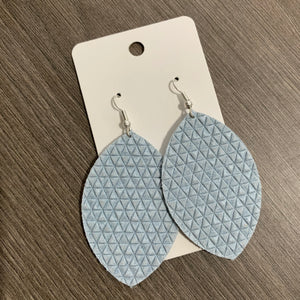 Light Blue Textured Leaf Leather Earrings