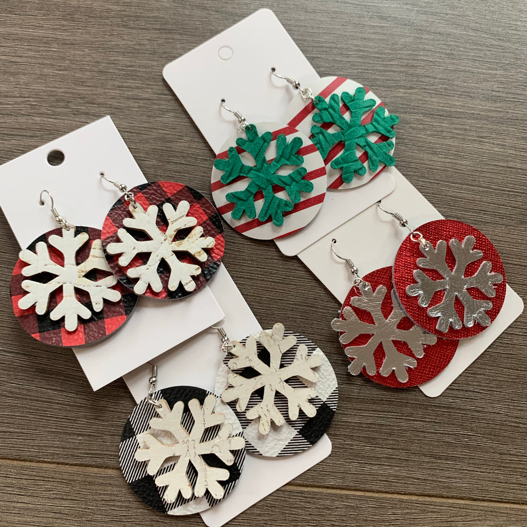 Christmas Circle Snowflake Layered Leather Earrings