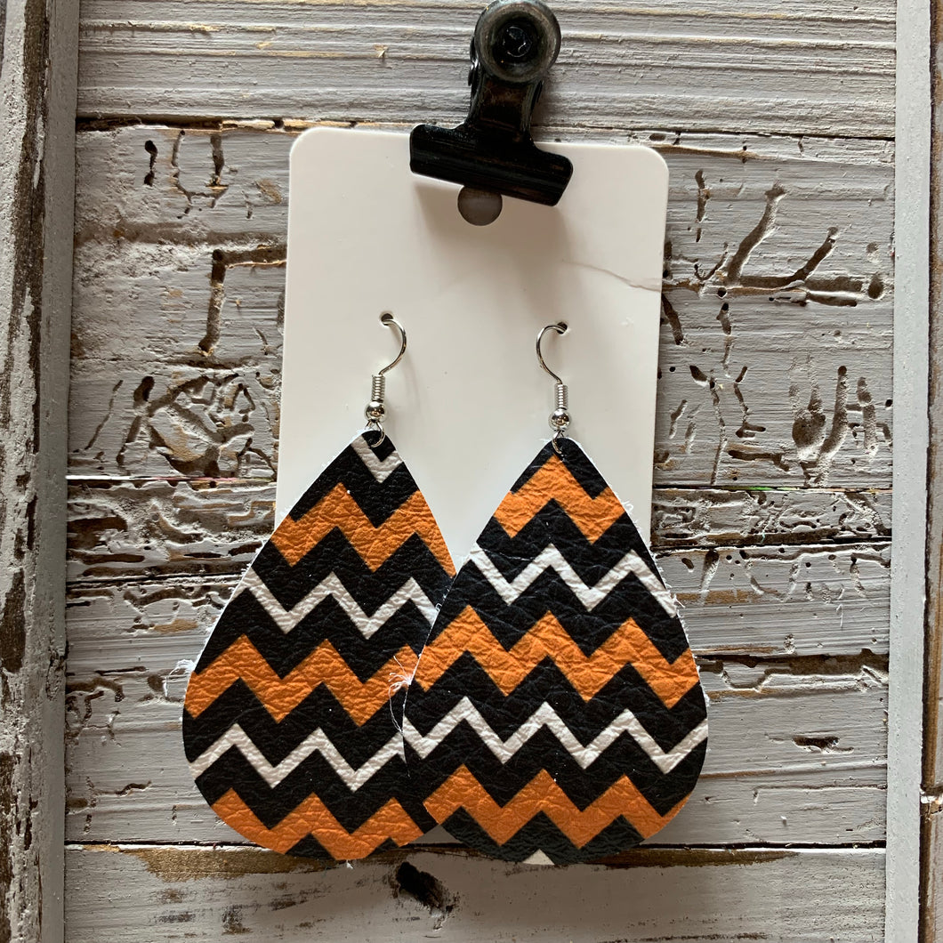 Orange and Black Chevron Teardrop Leather Earrings
