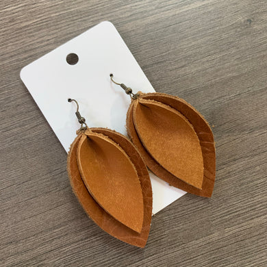 Two Tone Brown Double Petal Leather Earrings